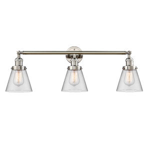 Small Cone Polished Nickel Three-Light Bath Vanity with Clear Glass
