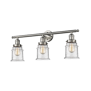 Canton Brushed Satin Nickel Three-Light Bath Vanity with Seedy Bell Glass