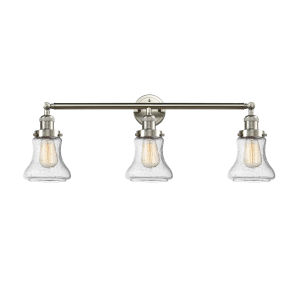 Bellmont Brushed Satin Nickel Three-Light LED Bath Vanity with Seedy Hourglass Glass