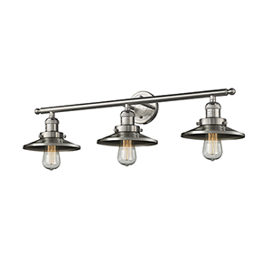 Railroad Brushed Satin Nickel Three-Light LED Bath Vanity