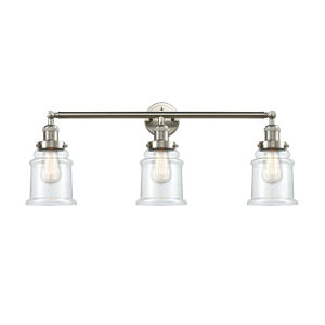 Canton Brushed Satin Nickel Three-Light Bath Vanity with Clear Glass