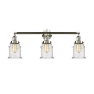 Canton Brushed Satin Nickel Three-Light LED Bath Vanity with Seedy Glass