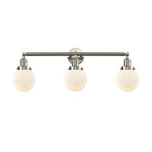 Beacon Brushed Satin Nickel Three-Light LED Bath Vanity with Six-Inch Matte White Cased Globe Glass