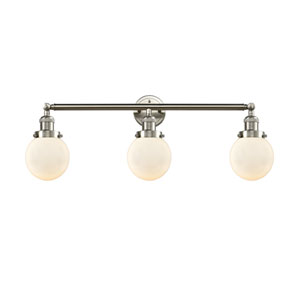 Beacon Brushed Satin Nickel Three-Light Bath Vanity with Six-Inch Matte White Cased Globe Glass
