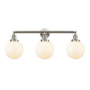 Beacon Brushed Satin Nickel Three-Light Bath Vanity with Eight-Inch Matte White Cased Globe Glass