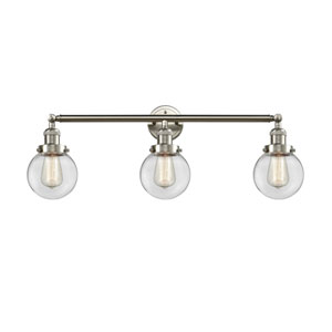 Beacon Brushed Satin Nickel Three-Light LED Bath Vanity with Six-Inch Clear Globe Glass
