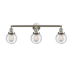 Beacon Brushed Satin Nickel Three-Light LED Bath Vanity with Six-Inch Seedy Globe Glass