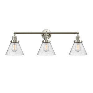 Large Cone Brushed Satin Nickel Three-Light Bath Vanity