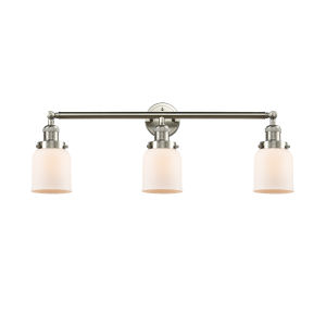 Small Bell Brushed Satin Nickel Three-Light Bath Vanity with Matte White Cased Glass