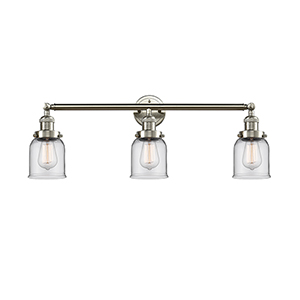 Small Bell Brushed Satin Nickel Three-Light Reversible Bath Vanity with Clear Bell Glass