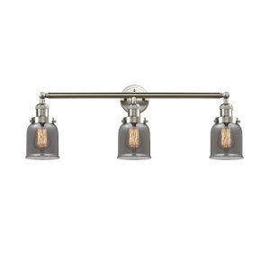 Small Bell Brushed Satin Nickel Three-Light Bath Vanity with Smoked Glass