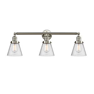 Small Cone Brushed Satin Nickel Three-Light Reversible Bath Vanity with Seedy Cone Glass