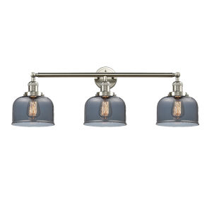 Large Bell Brushed Satin Nickel Three-Light Bath Vanity with Smoked Glass