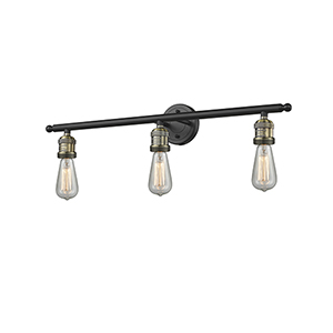 Bare Bulb Black Antique Brass Three-Light LED Reversible Bath Vanity