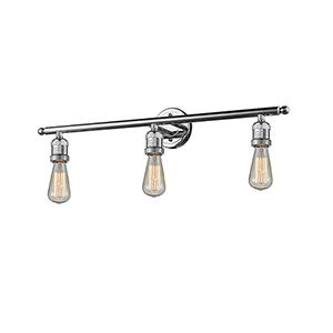 Bare Bulb Polished Chrome Three-Light LED Reversible Bath Vanity