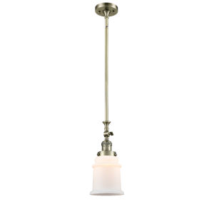 Canton Antique Brass LED Hang Straight Swivel Mini Pendant with Matte White Glass