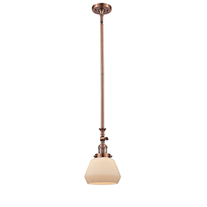 Fulton Antique Copper 14-Inch One-Light Mini Pendant with Matte White Cased Sphere Glass