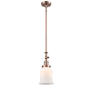 Canton Antique Copper LED Hang Straight Swivel Mini Pendant with Matte White Glass