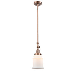 Canton Antique Copper One-Light Hang Straight Swivel Mini Pendant with Matte White Glass