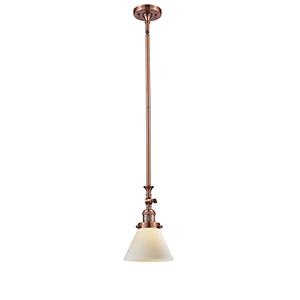 Large Cone Antique Copper 14-Inch LED Mini Pendant with Matte White Cased Cone Glass