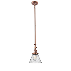 Large Cone Antique Copper 14-Inch LED Mini Pendant with Seedy Cone Glass