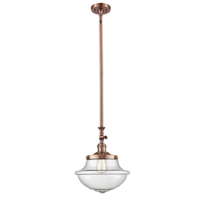 Oxford School House Antique Copper 15-Inch One-Light Pendant with Seedy Bell Glass