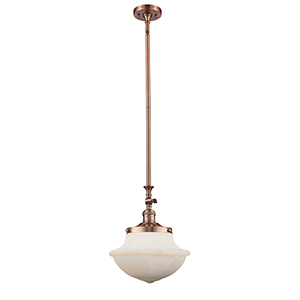 Oxford School House Antique Copper 15-Inch LED Pendant with White Bell Glass