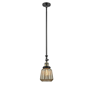 Chatham Black Antique Brass 14-Inch LED Mini Pendant with Mercury Fluted Novelty Glass
