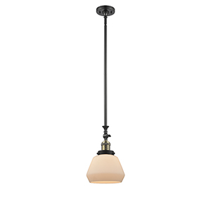 Fulton Black Antique Brass 14-Inch LED Mini Pendant with Matte White Cased Sphere Glass