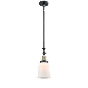 Canton Black Antique Brass LED Hang Straight Swivel Mini Pendant with Matte White Glass