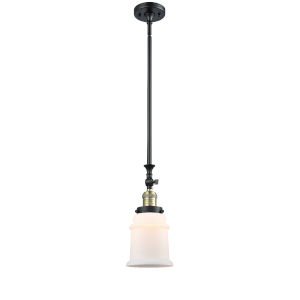 Canton Black Antique Brass One-Light Hang Straight Swivel Mini Pendant with Matte White Glass