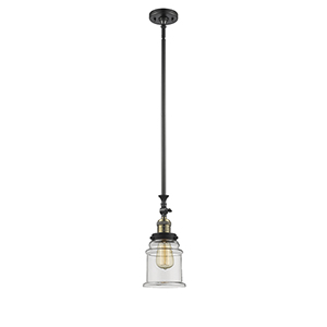Canton Black Antique Brass 14-Inch LED Mini Pendant with Clear Bell Glass