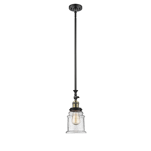 Canton Black Antique Brass 14-Inch One-Light Mini Pendant with Seedy Bell Glass
