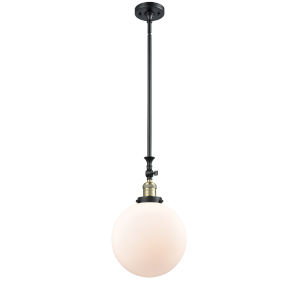 Franklin Restoration Black Antique Brass 10-Inch One-Light Pendant with Matte White Cased Beacon Shade and Wire