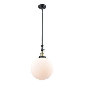 Franklin Restoration Black Antique Brass 12-Inch One-Light Pendant with Matte White Cased Beacon Shade and Wire