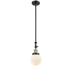 Franklin Restoration Black Antique Brass Six-Inch LED Mini Pendant with Matte White Cased Beacon Shade and Wire