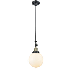 Franklin Restoration Black Antique Brass Eight-Inch One-Light Mini Pendant with Matte White Cased Beacon Shade and Wire