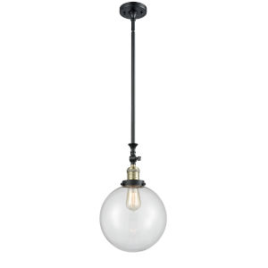 Franklin Restoration Black Antique Brass 10-Inch One-Light Pendant with Clear Beacon Shade and Wire