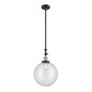 Franklin Restoration Black Antique Brass 12-Inch One-Light Pendant with Clear Beacon Shade and Wire