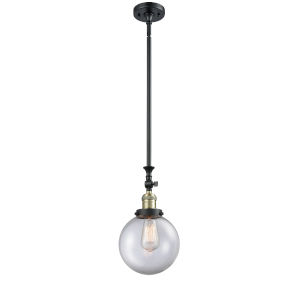Franklin Restoration Black Antique Brass Eight-Inch LED Mini Pendant with Clear Beacon Shade and Wire