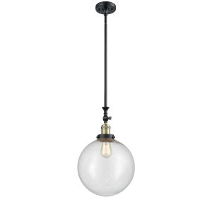Franklin Restoration Black Antique Brass 12-Inch One-Light Pendant with Seedy Beacon Shade and Wire