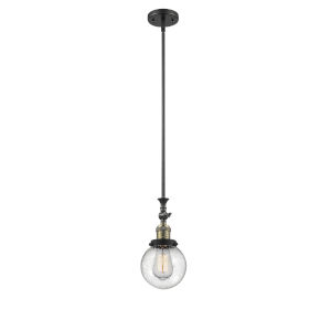 Franklin Restoration Black Antique Brass Six-Inch LED Mini Pendant with Seedy Beacon Shade and Wire