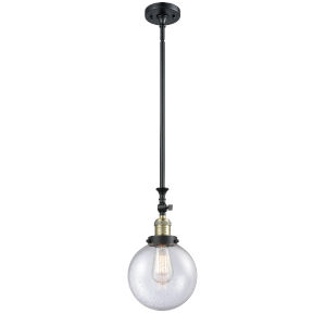 Franklin Restoration Black Antique Brass Eight-Inch LED Mini Pendant with Seedy Beacon Shade and Wire