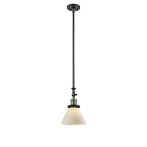 Large Cone Black Antique Brass 14-Inch LED Mini Pendant with Matte White Cased Cone Glass