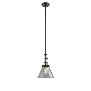 Large Cone Black Antique Brass 14-Inch LED Mini Pendant with Clear Cone Glass