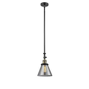 Large Cone Black Antique Brass 14-Inch LED Mini Pendant with Smoked Cone Glass