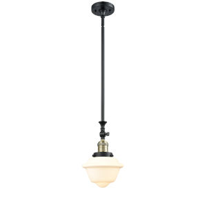 Franklin Restoration Black Antique Brass Eight-Inch One-Light Mini Pendant with Matte White Cased Small Oxford Shade and Wire