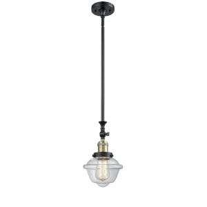 Franklin Restoration Black Antique Brass Eight-Inch One-Light Mini Pendant with Clear Small Oxford Shade and Wire