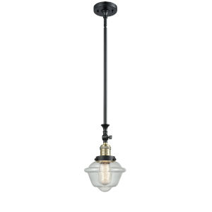 Franklin Restoration Black Antique Brass Eight-Inch One-Light Mini Pendant with Seedy Small Oxford Shade and Wire