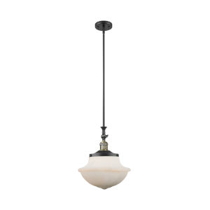 Franklin Restoration Black Antique Brass 12-Inch One-Light Pendant with Matte White Cased Large Oxford Shade and Wire